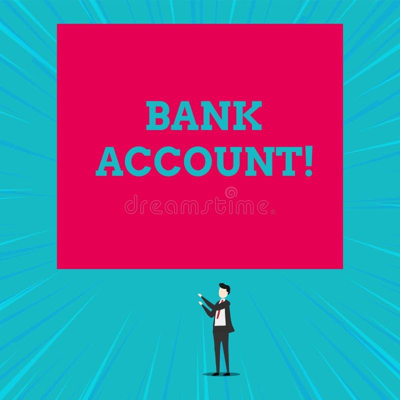 Teksta szyldowy pokazuje konto bankowe Konceptualna fotografia Reprezentuje fundusze kt?ry powierza? bank klient royalty ilustracja