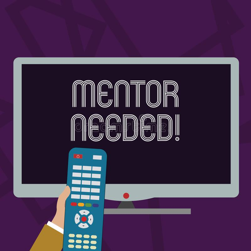 Teksta szyldowy pokazuje mentor Potrzebuj?cy Konceptualny fotografia pracownika szkolenie pod seniorem wyznacza? post?puje jako a ilustracji