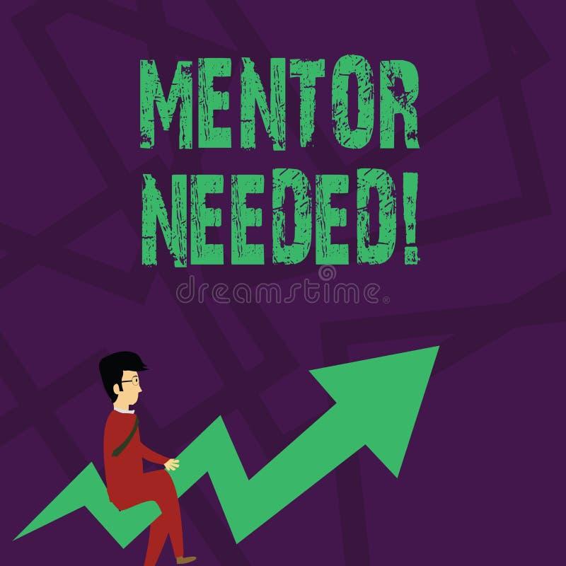 Teksta szyldowy pokazuje mentor Potrzebuj?cy Konceptualny fotografia pracownika szkolenie pod seniorem wyznacza? post?puje jako a ilustracja wektor