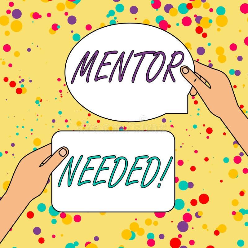 Teksta szyldowy pokazuje mentor Potrzebuj?cy Konceptualny fotografia pracownika szkolenie pod seniorem wyznacza? post?puje jako a royalty ilustracja