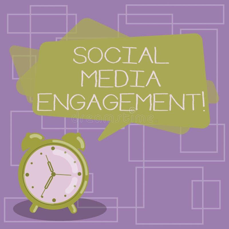 Teksta szyldowy pokazuje Ogólnospołeczny Medialny zobowiązanie Konceptualna fotografia Komunikuje w online społeczności platform  royalty ilustracja
