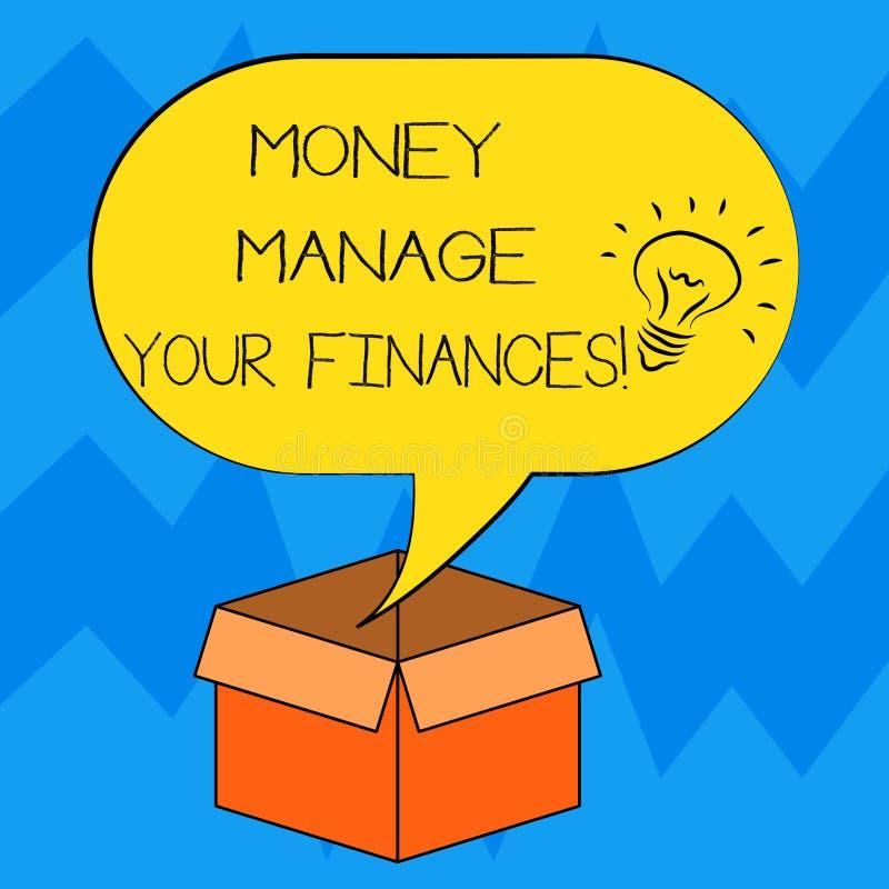 Teksta szyldowy pokazuje pieniądze Kieruje Twój finanse Konceptualna fotografia Robi dobremu użytkowi twój przychody Inwestuje po royalty ilustracja