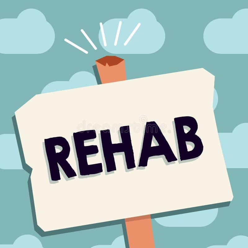 Teksta szyldowy pokazuje Rehab Konceptualnej fotografii kursowy traktowanie dla leka alkoholu zależności typowo przy mieszkaniowy royalty ilustracja
