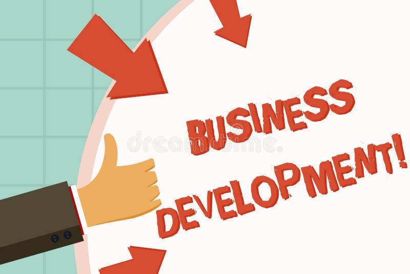 Teksta szyldowy pokazuje rozwój biznesu Konceptualna fotografia Rozwija organizacja przyrosta sposobności i Uprawomocnia ilustracji