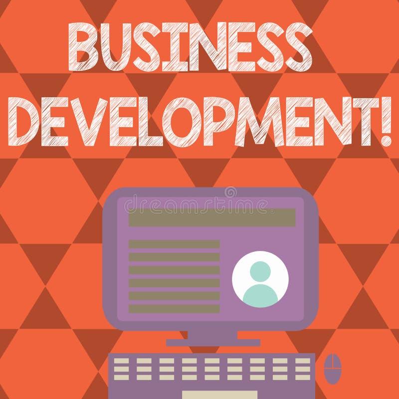Teksta szyldowy pokazuje rozwój biznesu Konceptualna fotografia Rozwija organizacja przyrosta sposobności i Uprawomocnia royalty ilustracja