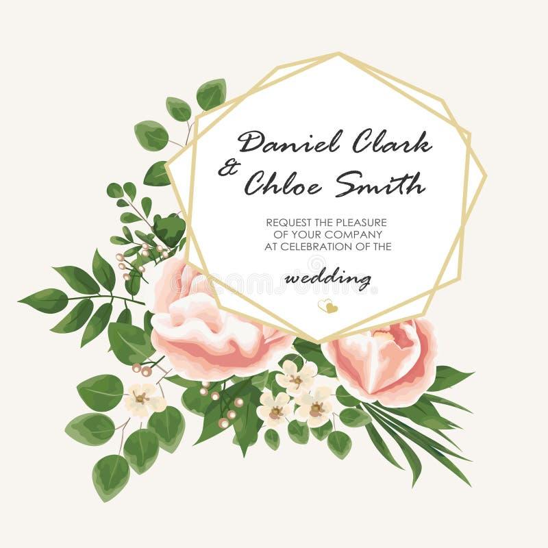 Teksta tło z kwiat peoniami i jaśminem, gałąź o royalty ilustracja