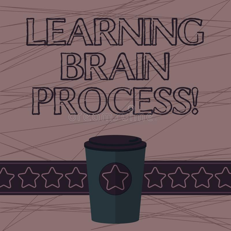 Teksta uczenie mózg szyldowy pokazuje proces Konceptualny fotografii nabywanie nowy lub modyfikujący istniejącą wiedzy 3D kawę Iś royalty ilustracja