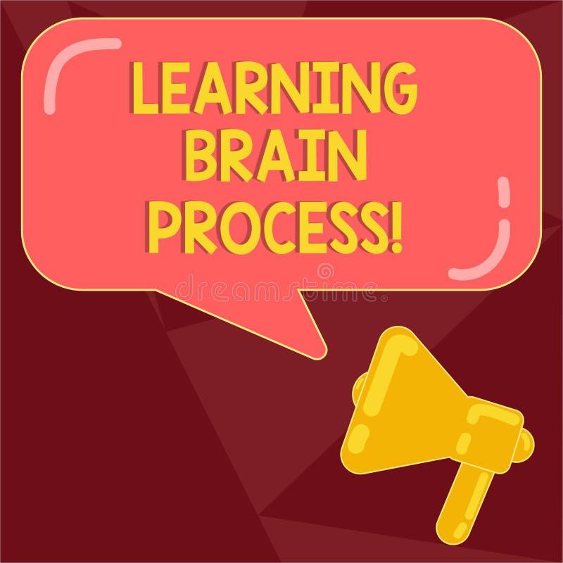 Teksta uczenie mózg szyldowy pokazuje proces Konceptualny fotografii nabywanie nowy lub modyfikuje istniejącą wiedza megafonu fot ilustracji