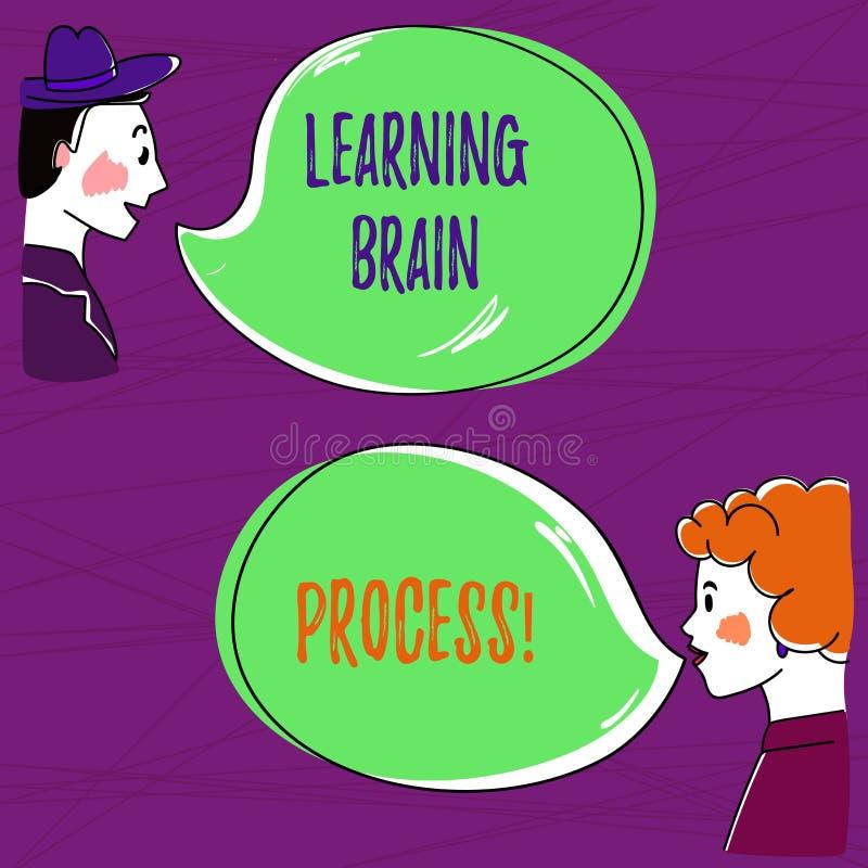 Teksta uczenie mózg szyldowy pokazuje proces Konceptualny fotografii nabywanie nowy lub modyfikuje istniejąca ręka Rysującego wie ilustracji