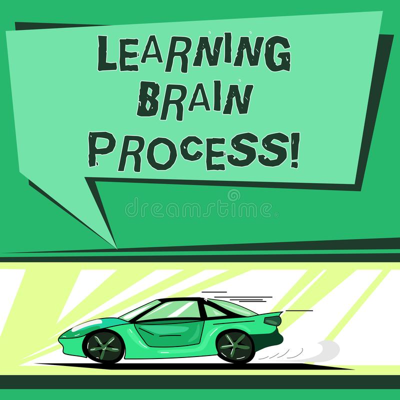 Teksta uczenie mózg szyldowy pokazuje proces Konceptualny fotografii nabywanie nowy lub modyfikuje istniejącego wiedza samochód z ilustracji