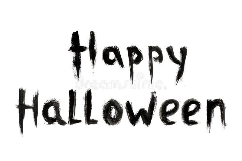 Teksta wpisowy Szczęśliwy Halloweenowy czarny kolor odizolowywający na białym tle obrazy royalty free