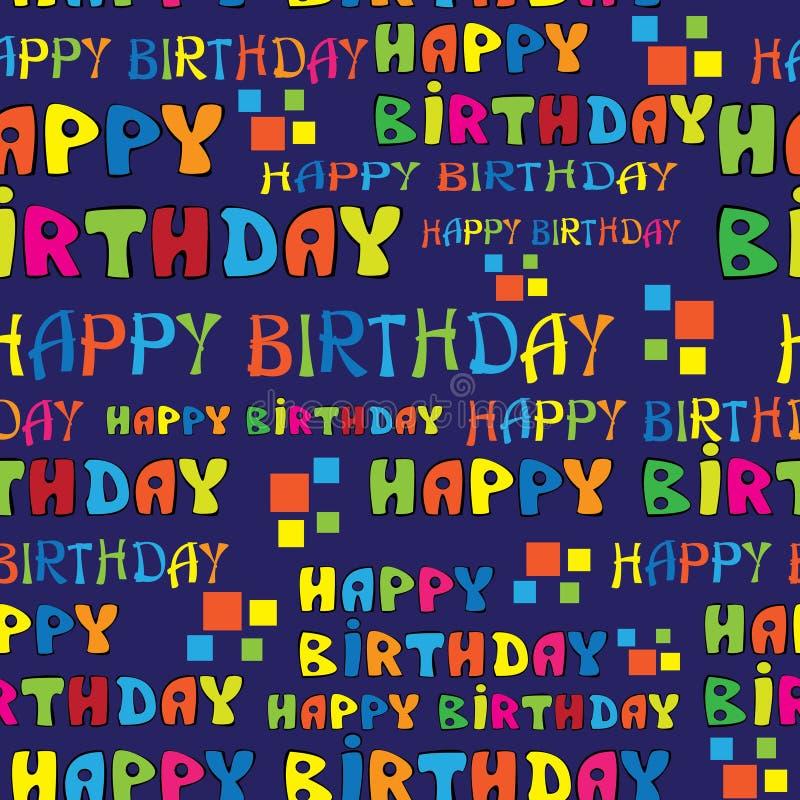 Teksta wszystkiego najlepszego z okazji urodzin bezszwowy wzór ilustracja wektor