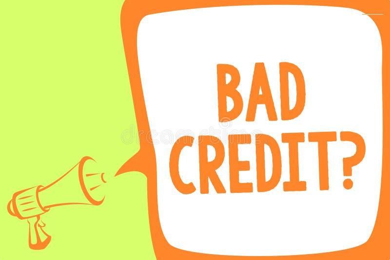 Teksta znak pokazuje Bad kredyta pytanie Konceptualna fotografii historia gdy ja wskazuje że pożyczający wysokiego ryzyka megafon ilustracji