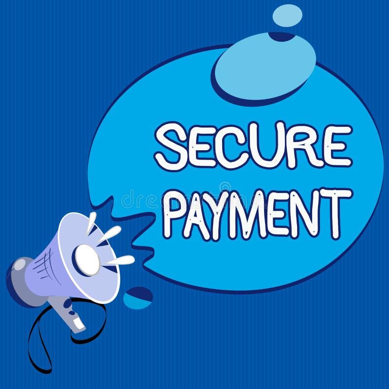 Teksta znak pokazuje Bezpiecznie zapłatę Konceptualna fotografii ochrona zapłata nawiązywać do zapewniać opłacony parzysty, równy ilustracja wektor