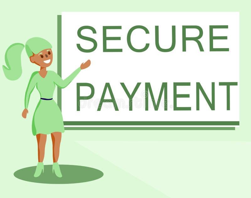 Teksta znak pokazuje Bezpiecznie zapłatę Konceptualna fotografii ochrona zapłata nawiązywać do zapewniać opłacony parzysty, równy royalty ilustracja