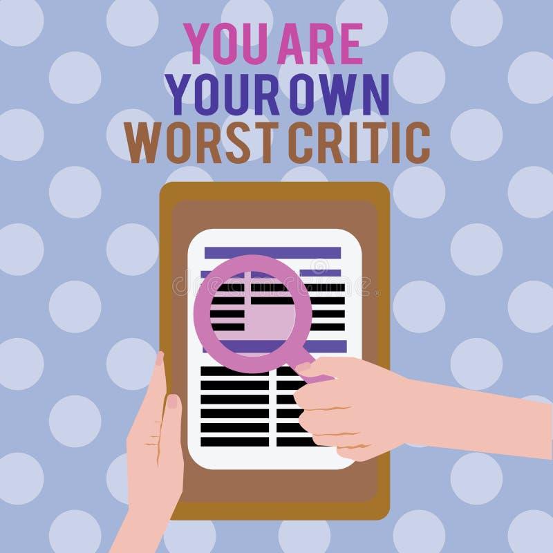 Teksta znak pokazuje Ciebie Jest Twój Swój Złym krytykiem Konceptualna fotografia zbyt mocno na jaźni Nie Pozytywna informacje zw ilustracji