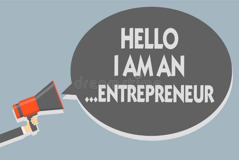 Teksta znak pokazuje cześć Jestem przedsiębiorca Konceptualna fotografii osoba w górę biznesu lub rozpoczęcia która ustawia - Obs ilustracja wektor