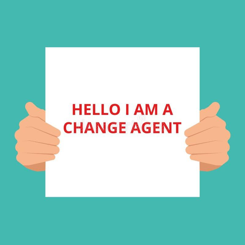 Teksta znak pokazuje cześć jestem zmiany agentem ilustracja wektor