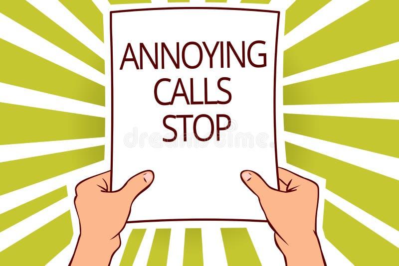 Teksta znak pokazuje Dokuczający wezwanie przerwę Konceptualna fotografia Zapobiega spamów telefony Blacklisting liczby rozmówcy  ilustracji