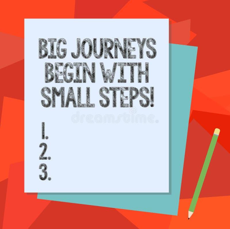 Teksta znak pokazuje Duże podróże Zaczyna Z Małymi krokami Konceptualny fotografii Jeden krok dosięgać twój cel stertę na raz royalty ilustracja