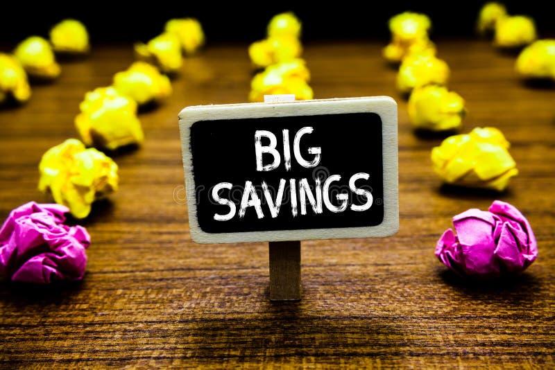 Teksta znak pokazuje Dużych Savings Konceptualnego fotografia dochodu wydający lub odraczający spożycia kładzenia pieniądze Black obraz stock