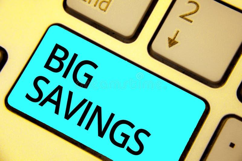 Teksta znak pokazuje Dużych Savings Konceptualnego fotografia dochodu wydający lub odraczający spożycia kładzenia pieniądze błęki obrazy royalty free