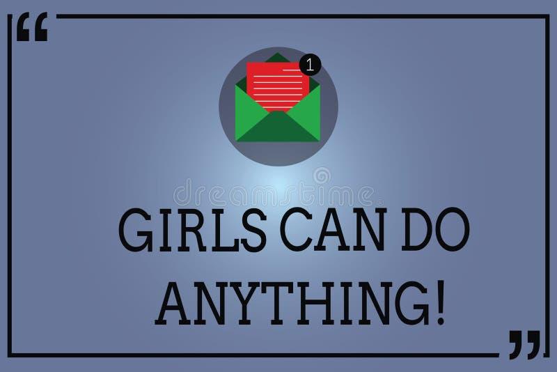 Teksta znak pokazuje dziewczyny Może Robić Cokolwiek Konceptualny fotografii kobiet władzy upełnomocnienia kobiecy przywódctwo Ot ilustracja wektor