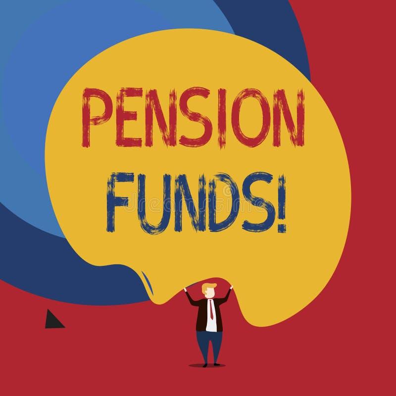 Teksta znak pokazuje fundusze emerytalnych Konceptualnej fotografii inwestorscy baseny kt?re p?ac? dla pracownik emerytury odda? ilustracji