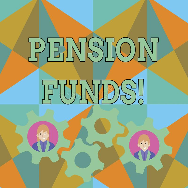 Teksta znak pokazuje fundusze emerytalnych Konceptualnej fotografii inwestorscy baseny kt?re p?ac? dla pracownik emerytury odda?  royalty ilustracja