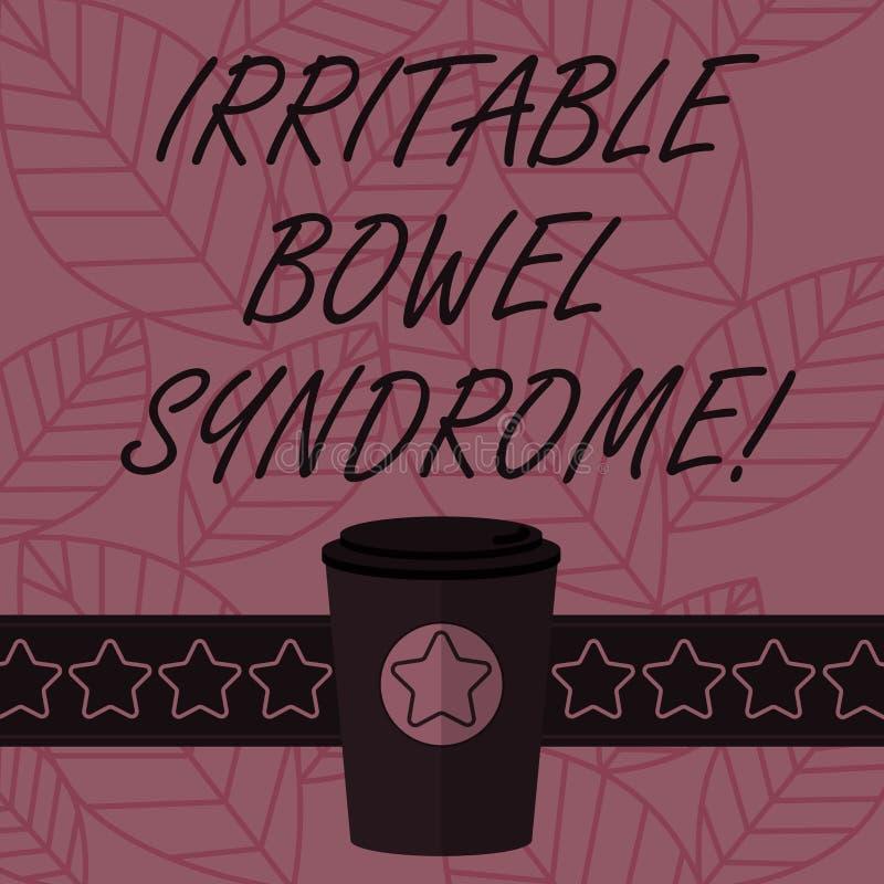 Teksta znak pokazuje Gniewliwej kiszki syndrom Konceptualny fotografia nieład wymaga brzuszną bólu i biegunki 3D kawę Iść filiżan ilustracja wektor