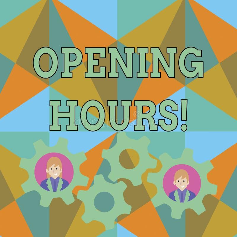 Teksta znak pokazuje godziny otwarcie Konceptualna fotografia czas podczas kt?rego otwarty dla klient?w Dwa biznesu jest biznes ilustracji