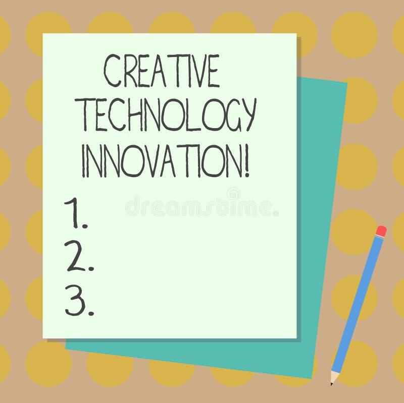 Teksta znak pokazuje Kreatywnie technologii innowację Konceptualna fotografia spuszczać ze smyczy umysł poczynać nową pomysł ster ilustracja wektor