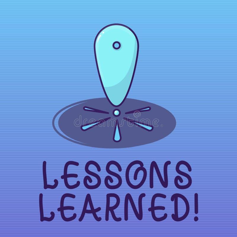 Teksta znak pokazuje lekcje Uczył się Konceptualna fotografii informacja odbija pozytywnych i negatywnych doświadczenia ilustracja wektor