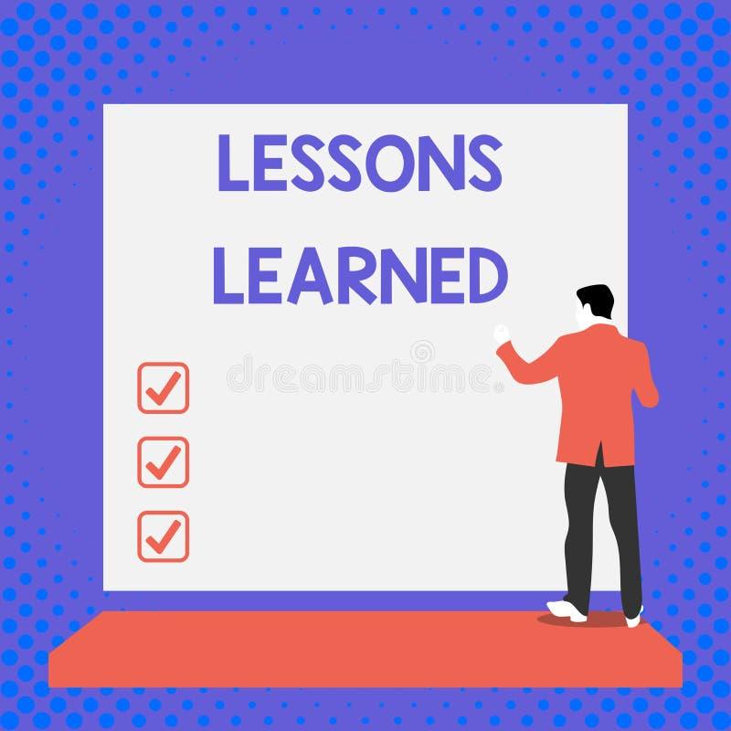 Teksta znak pokazuje lekcje Uczy? si? Konceptualna fotografii informacja odbija pozytywnego i negatywni doświadczenia Z powrotem  royalty ilustracja