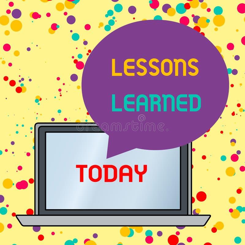 Teksta znak pokazuje lekcje Uczy? si? Konceptualna fotografii informacja odbija pozytywnych i negatywnych doświadczeń Round kszta royalty ilustracja