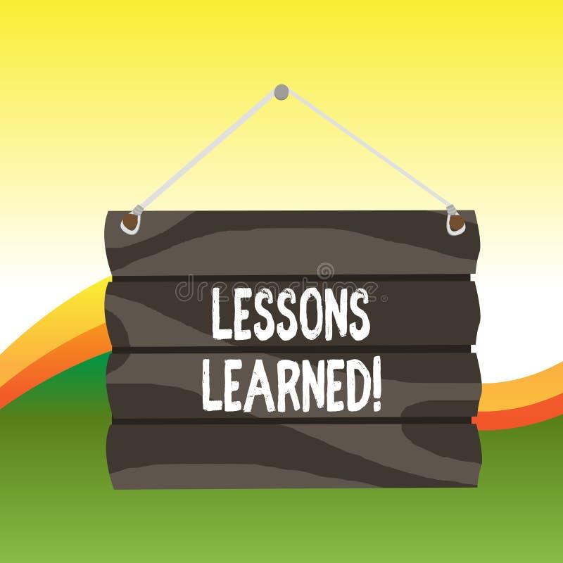 Teksta znak pokazuje lekcje Uczy? si? Konceptualni fotografii doświadczenia destylujący aktywnie brać haczyk którego W górę musi  ilustracja wektor