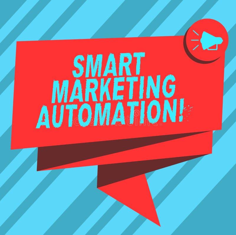 Teksta znak pokazuje Mądrze Marketingową automatyzację Konceptualna fotografia Automatyzuje online kampanie marketingowe i sprzed royalty ilustracja