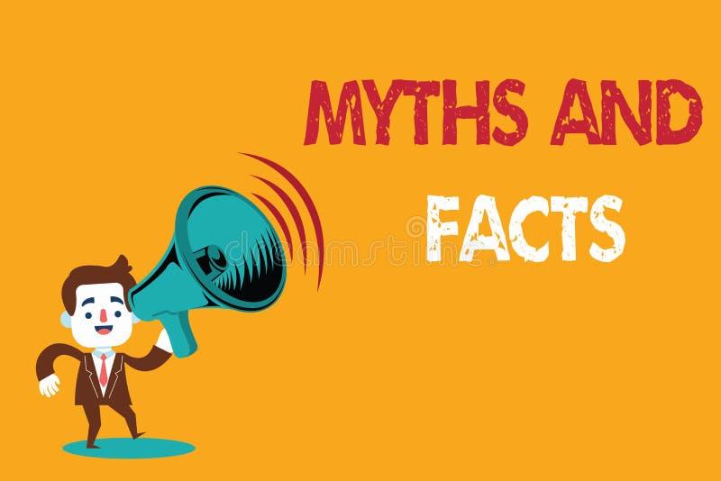 Teksta znak pokazuje mity I fact Konceptualnej fotografii Oppositive pojęcie o nowożytnym i antycznym okresie ilustracji