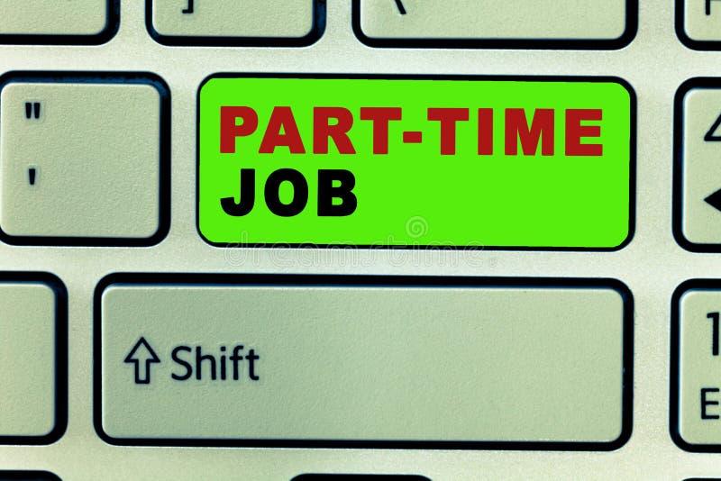 Teksta znak pokazuje Na Pół Etatu pracę Konceptualny Weekender Freelance fotografii OJT neofita Przypadkowy okres zatrudnienia Se royalty ilustracja