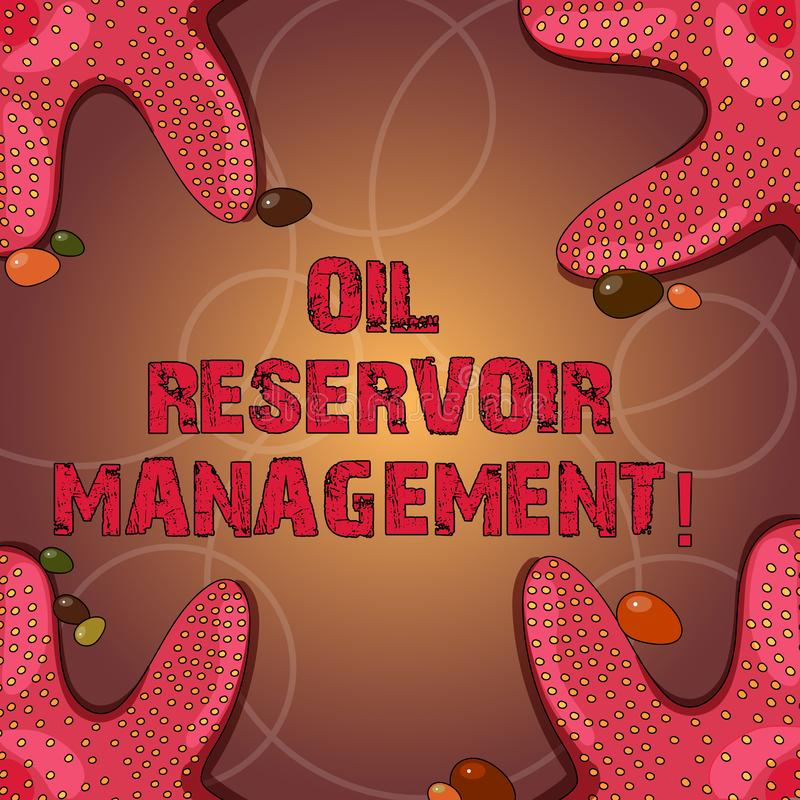 Teksta znak pokazuje Nafcianego rezerwuaru zarządzanie Konceptualna fotografia analysisaging wyzdrowienie gaz naturalny od rockow ilustracji