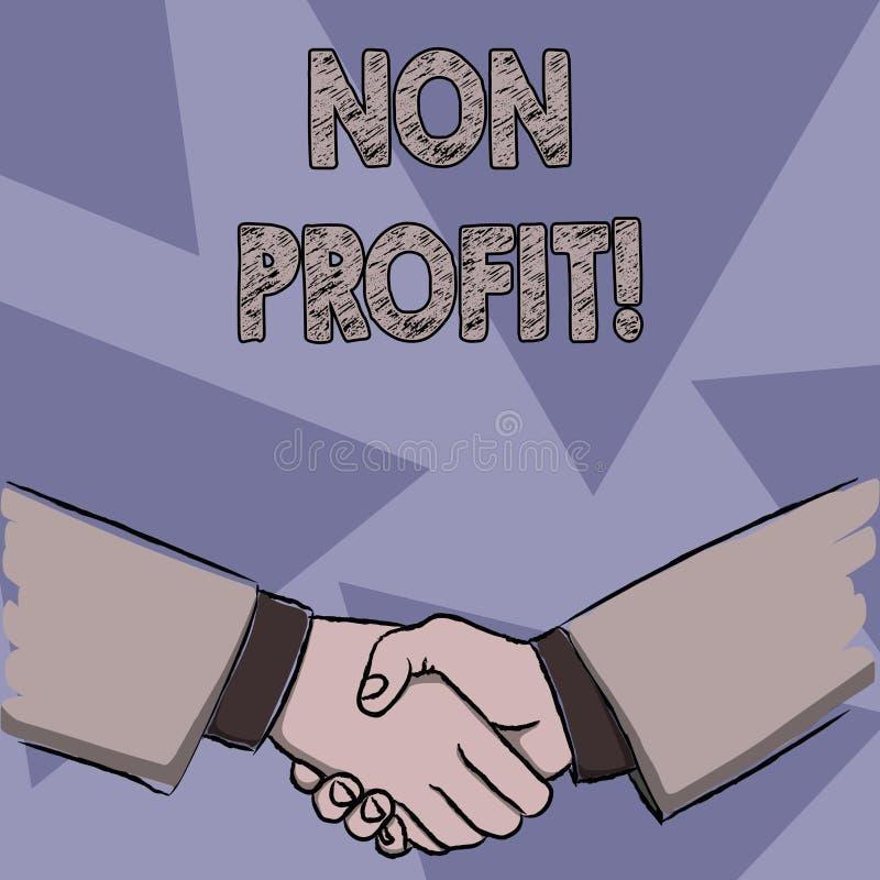 Teksta znak pokazuje Non zysk Konceptualna fotografia no robi pierwotnie lub prowadząca robić zysk organizacji biznesmenów royalty ilustracja