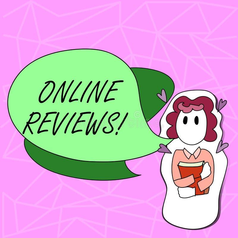 Teksta znak pokazuje Online przeglądy Konceptualnej fotografii cenień klienta Internetowa ocena Opiniuje satysfakcję ilustracji