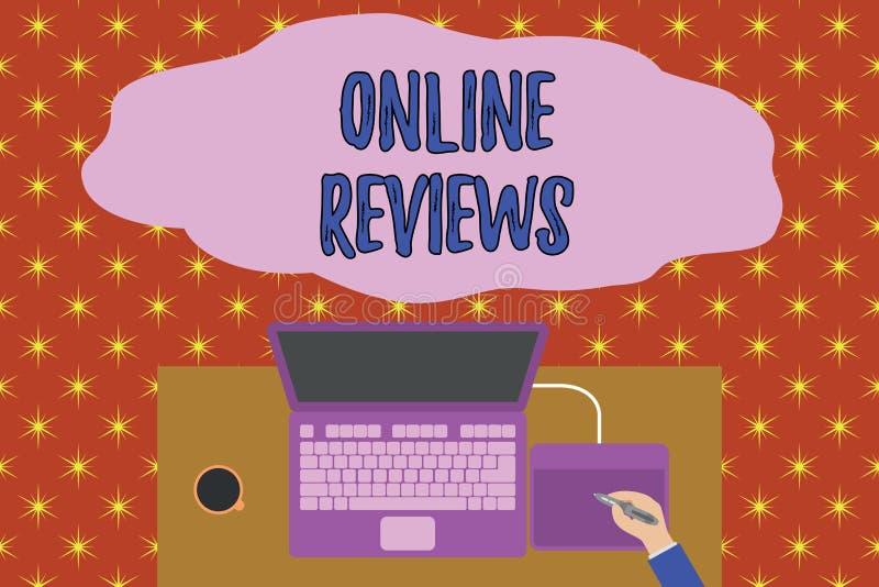 Teksta znak pokazuje Online przegl?dy Konceptualna fotografia produktu cenienia klienta informacje zwrotne publikuje w strona int ilustracji