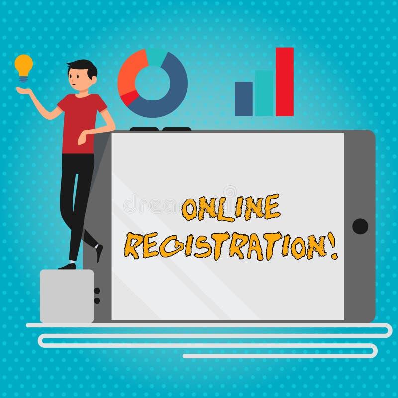 Teksta znak pokazuje Online rejestracj? Konceptualna fotografii registratura przez interneta jako użytkownik produktu mężczyzny O ilustracji