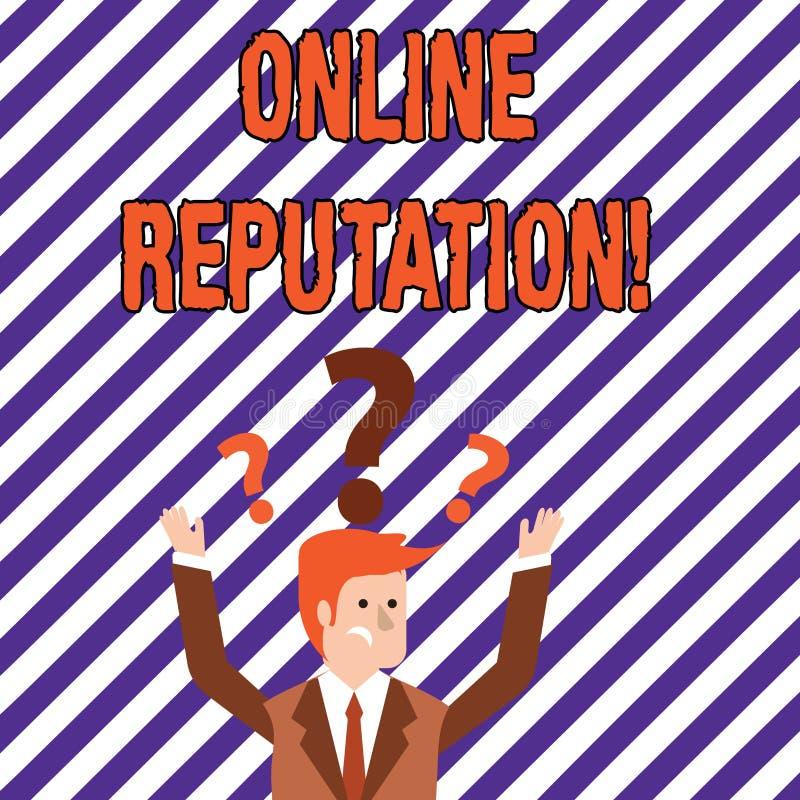 Teksta znak pokazuje Online reputację Konceptualnego fotografii niezawodności rankingu przeglądu satysfakcji Szacunkowa ilość ilustracja wektor
