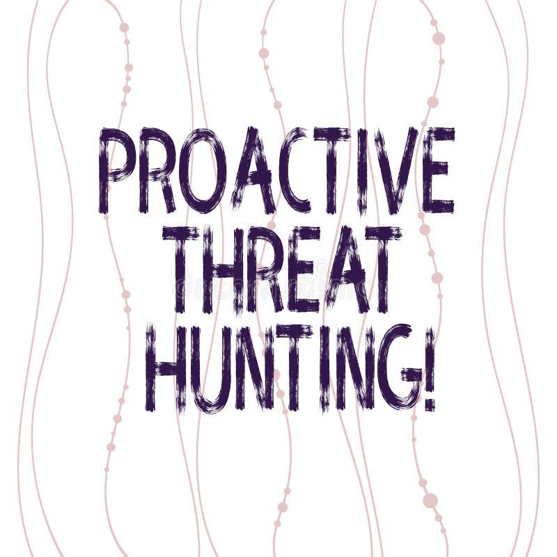 Teksta znak pokazuje Proaktywnie zagrożenia polowanie Konceptualna fotografia skupiał się i iteratywny podejście szukać za Pionow royalty ilustracja