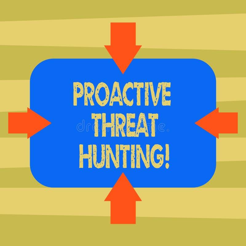 Teksta znak pokazuje Proaktywnie zagrożenia polowanie Konceptualna fotografia skupiał się i iteratywny podejście szukać za strzał royalty ilustracja