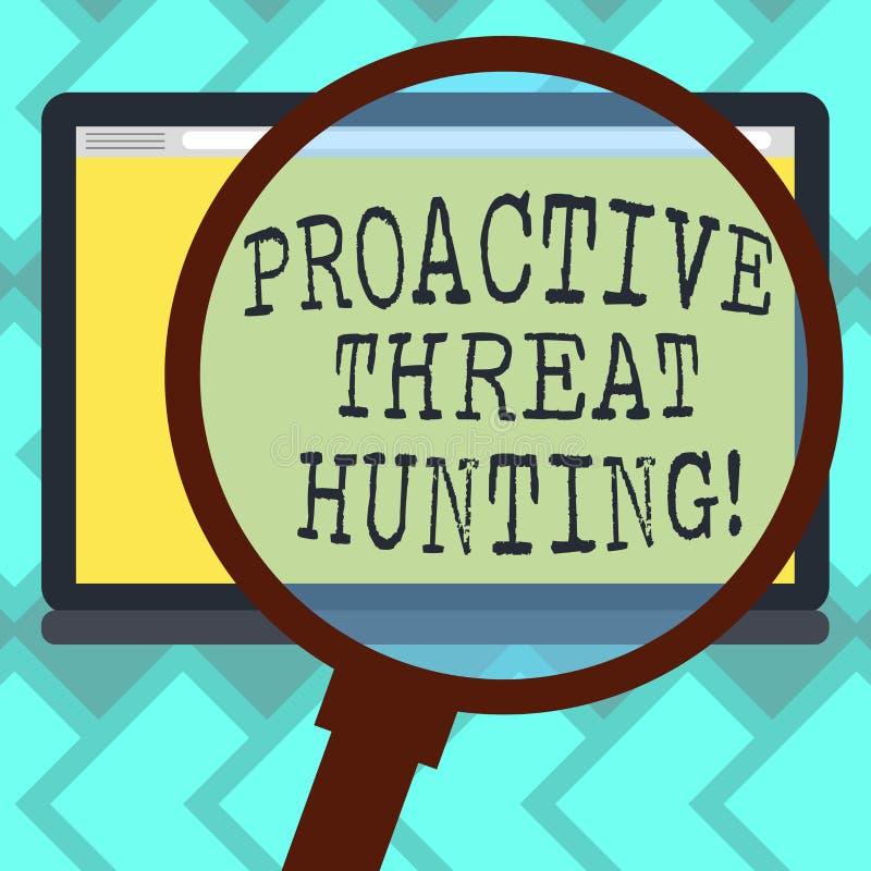 Teksta znak pokazuje Proaktywnie zagrożenia polowanie Konceptualna fotografia skupiał się i iteratywny podejście szukać za Powięk ilustracja wektor