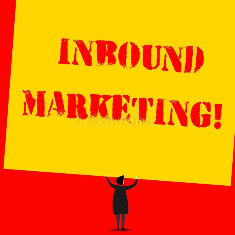 Teksta znak pokazuje Przylatuj?cego marketing Konceptualna fotografia strategia która skupia się na przyciągać klientów lub prowa ilustracja wektor