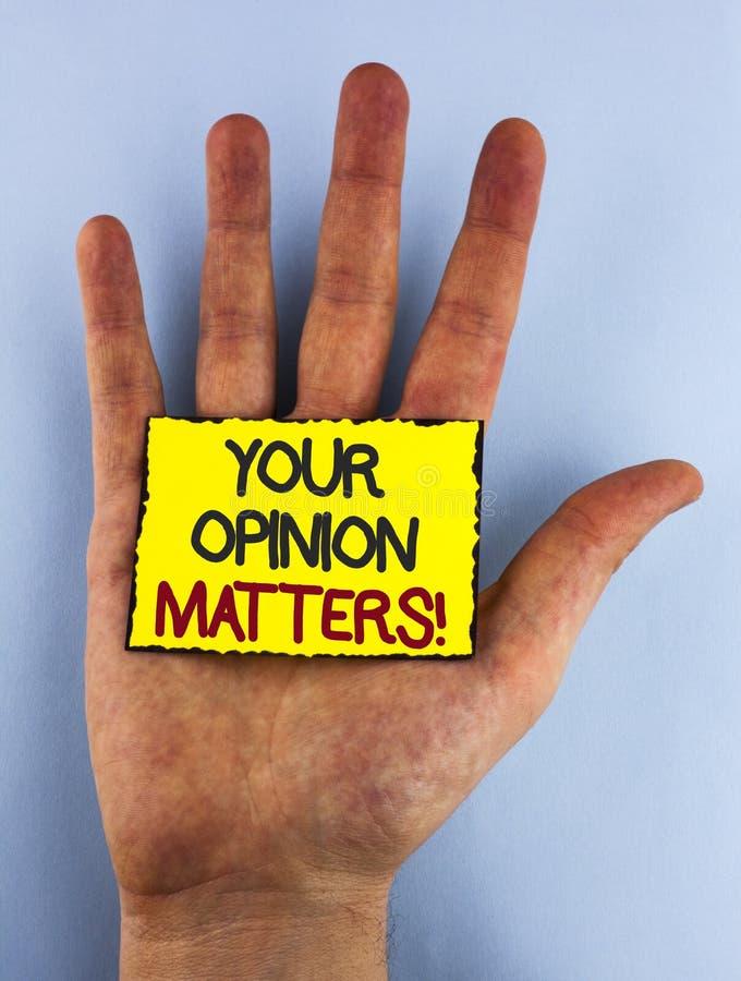 Teksta znak pokazuje Twój opinię Liczy się Motywacyjnego wezwanie Konceptualni fotografia klienta informacje zwrotne przeglądy pi zdjęcia royalty free